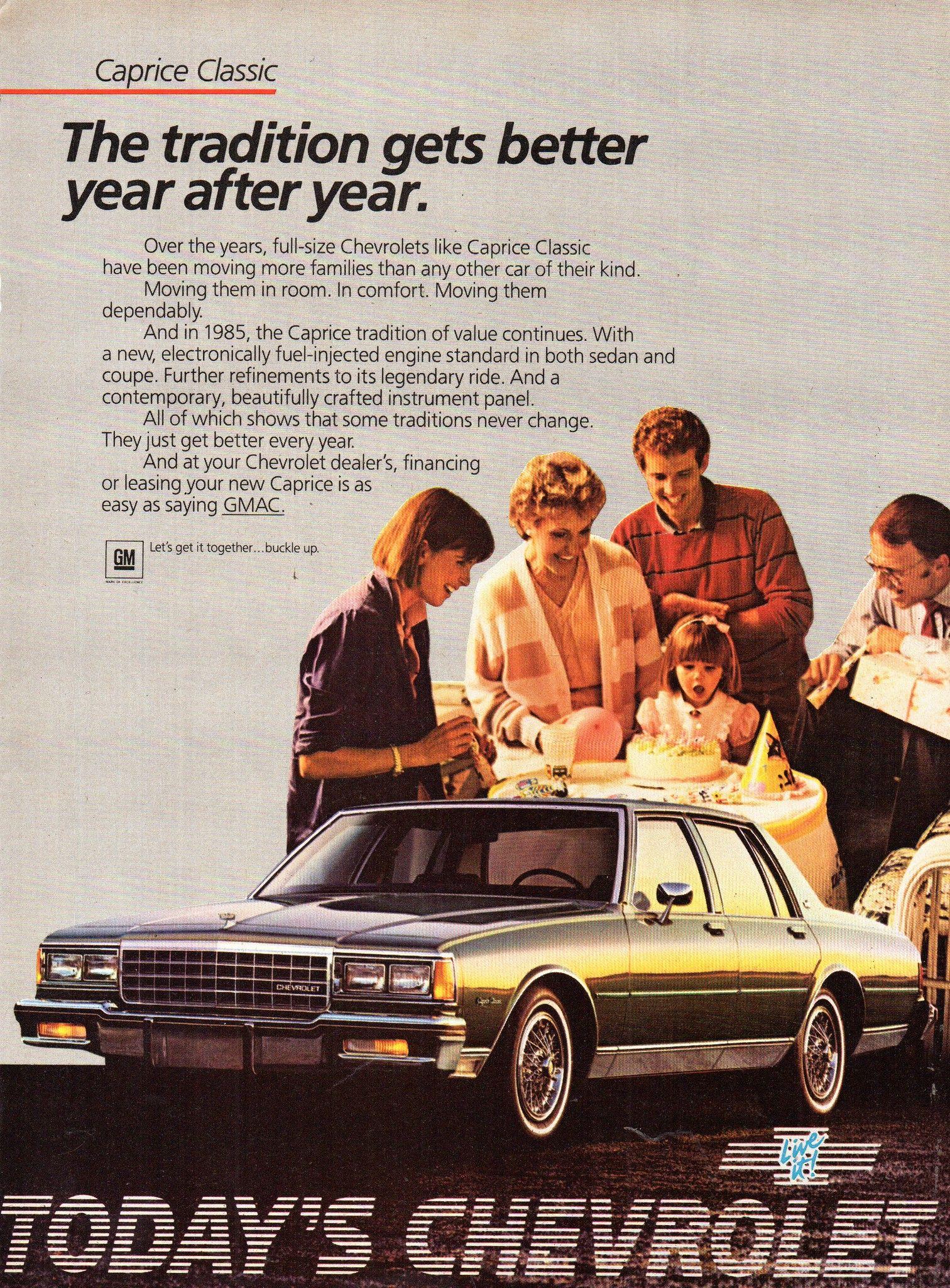 1985 Chevrolet Caprice Classic Sedan Usa Original Magazine Advertisement Caprice Classic Chevy Caprice Classic Chevrolet Caprice