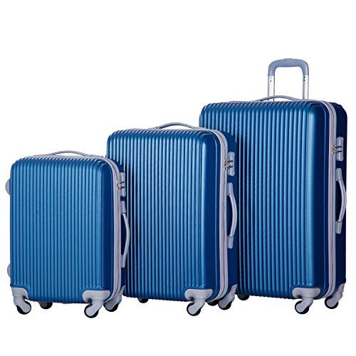 Merax Newest 3-piece Luggage Sets Spinner Suitcase Hardshell ...