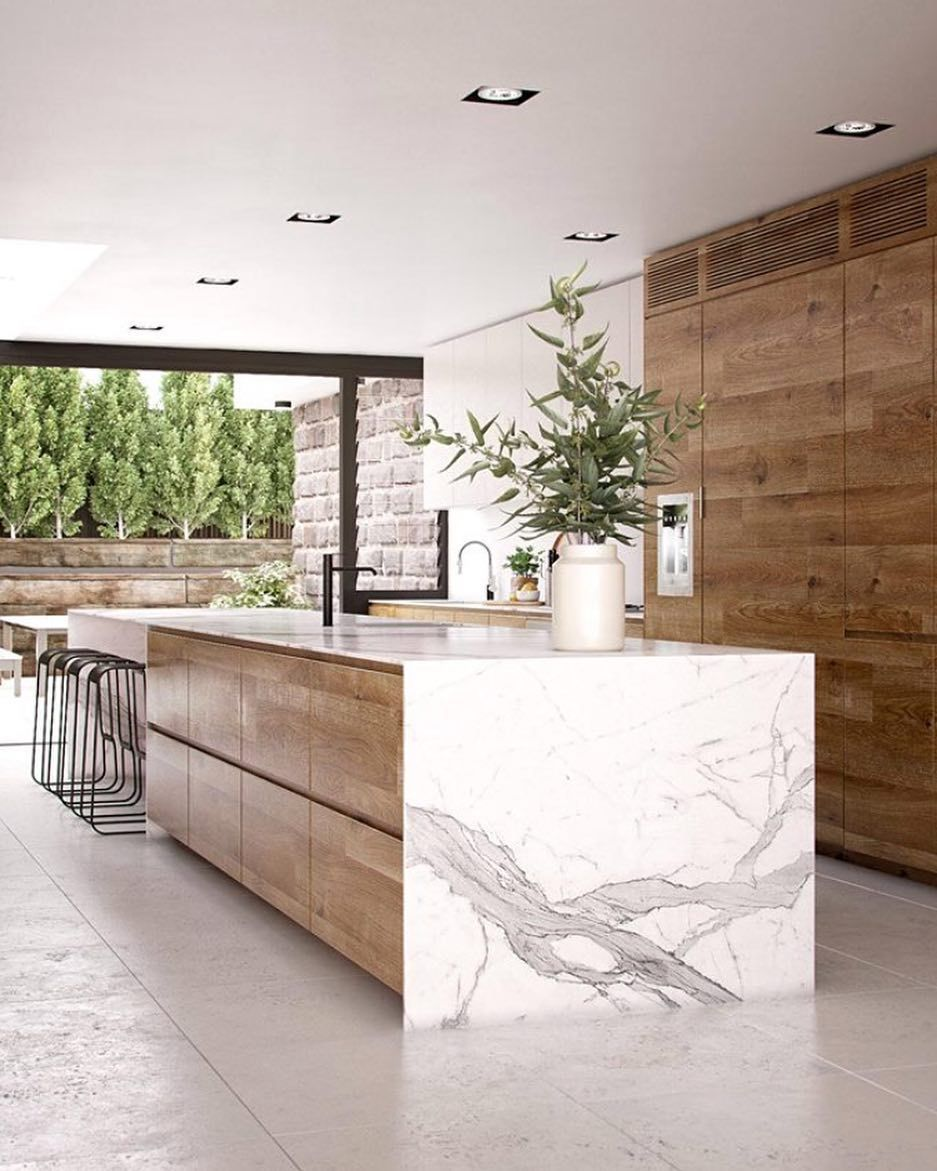 Natural Kitchen By Rdvis Creative Via Allofarchitecture Wood Marble Stone Natural Natu Modern Kitchen Design Home Decor Kitchen Modern Kitchen