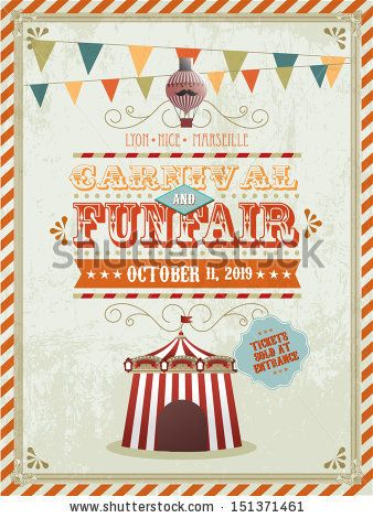 vintage fun fair and carnival poster template vector illustration by