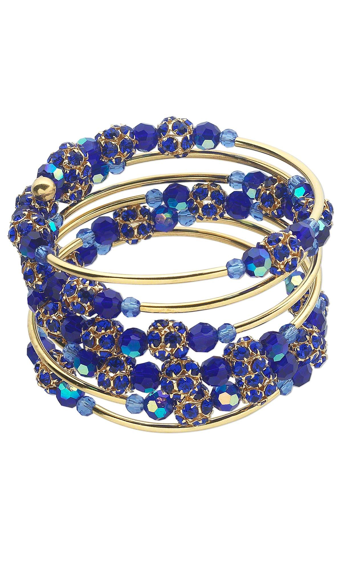 Jewelry Design - Memory Wire Bracelet with Celestial Crystal® Beads ...