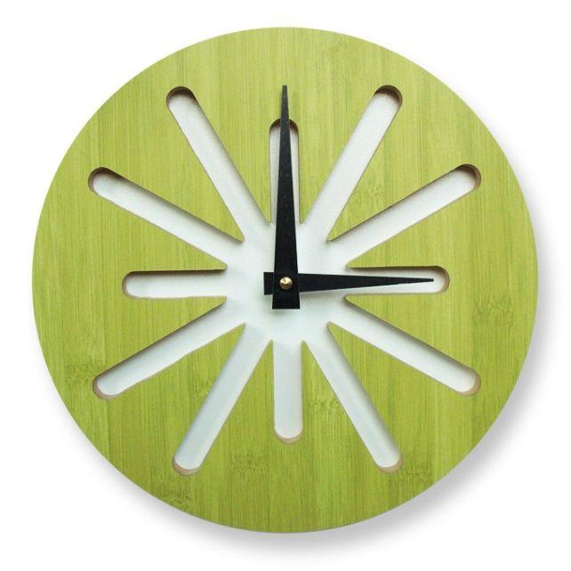 Green Bamboo Wall Clock Pilotdesign Cargoh Clock Limegreen 54 Wall Clock Modern Cool Clocks Bamboo Wall