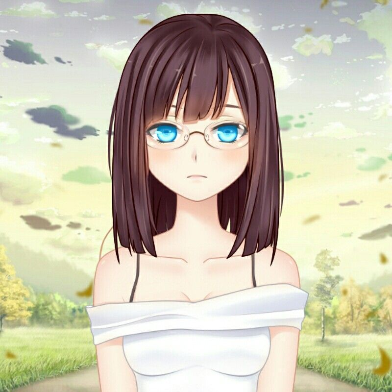 anime girl with short brown hair and blue eyes and glasses