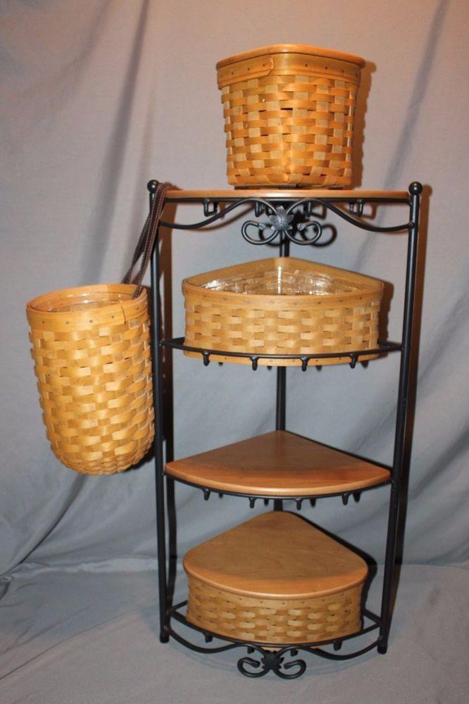 Longaberger Iron Corner Shelf And Basket Set Lot Lid Tissue Amazing Baskets For Corner Shelves
