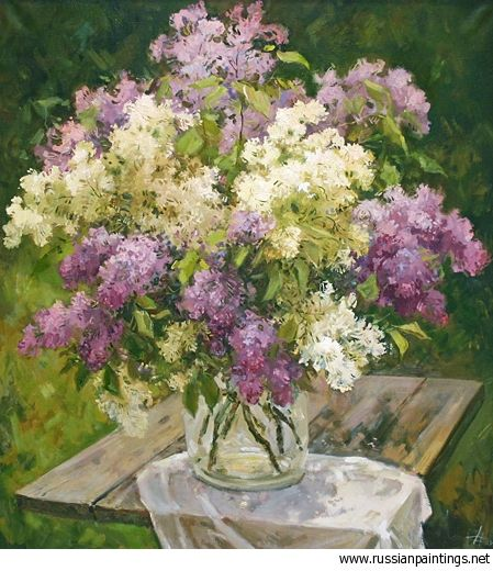 Russian Paintings Gallery Isaev Mikhail Bouquet Of Lilac