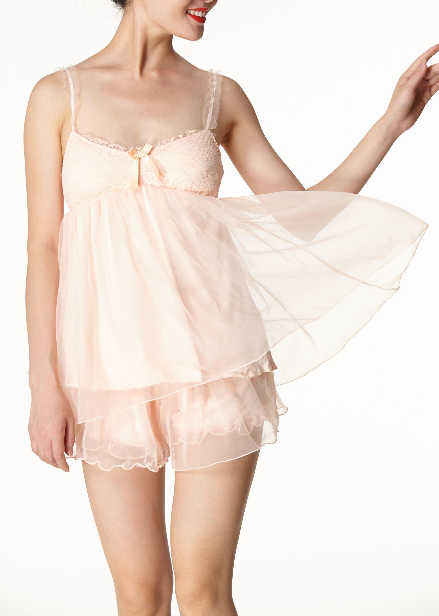 Ms Demon Set Dreamlike Suspender Two Piece Suit Wedding Nightclothes Pink Size 2 12free