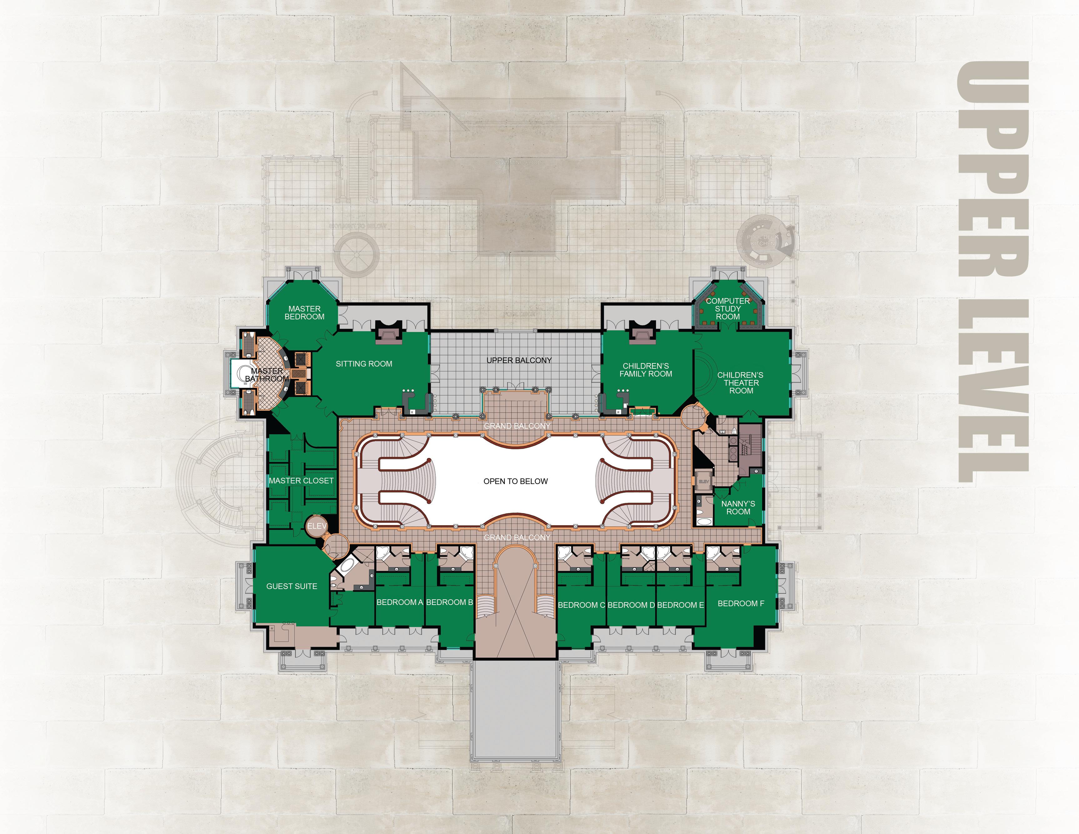 Upper Floor Of Versailles Megamansion In Florida Floor Plans Versailles Mansion Floor Plan