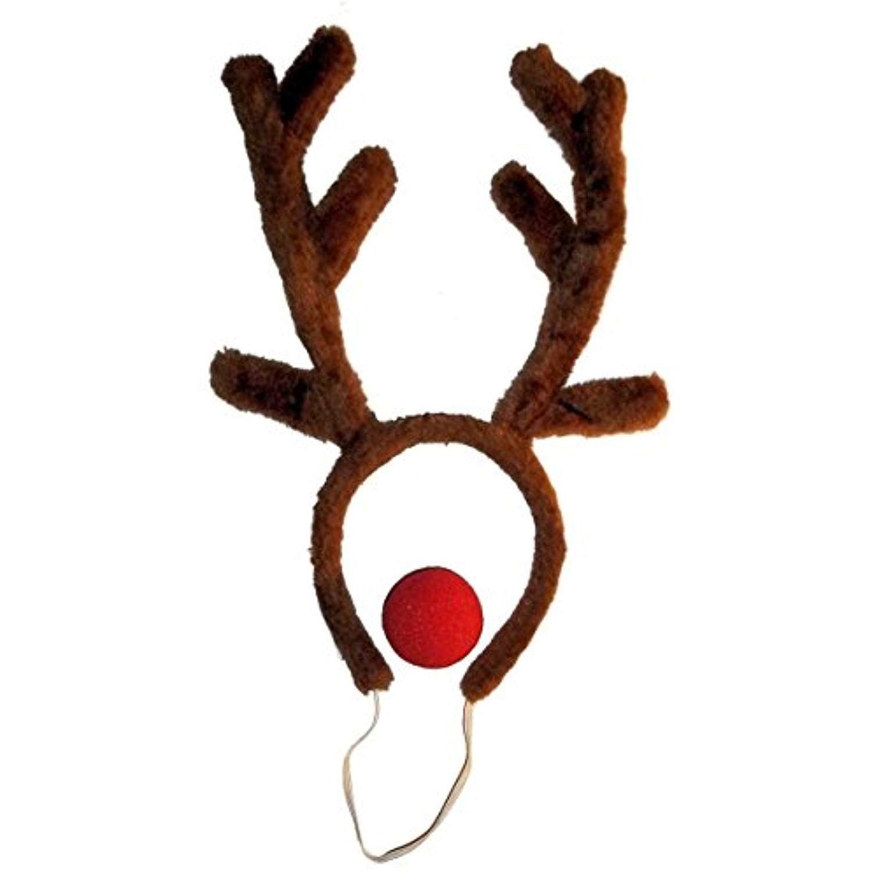 Boys UK Rudolph Reindeer Antlers and Red Nose Girls Rudolf Fancy Dress Kit