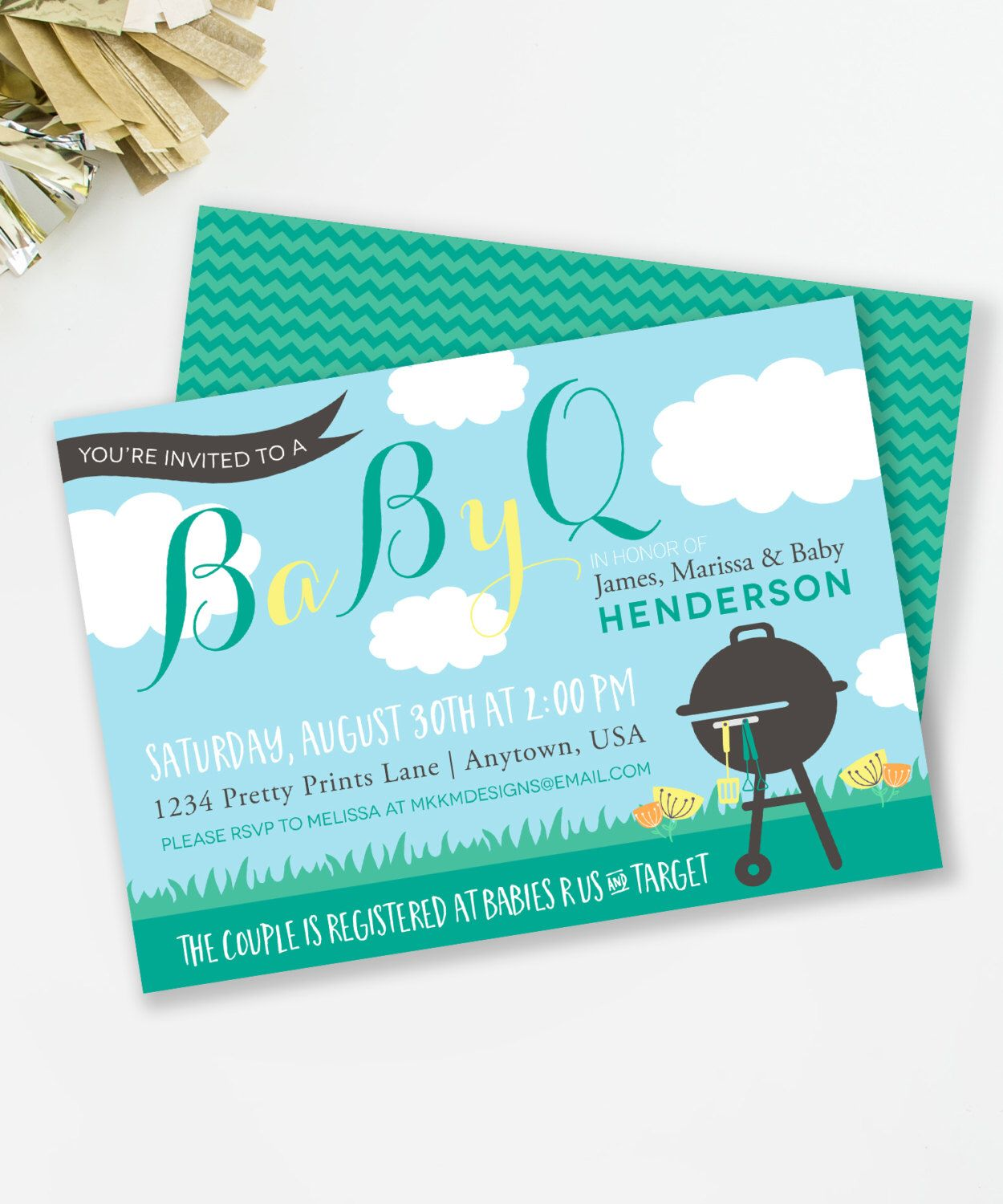 BabyQ Shower Invitation, Barbeque Baby Shower, Couples Shower ...