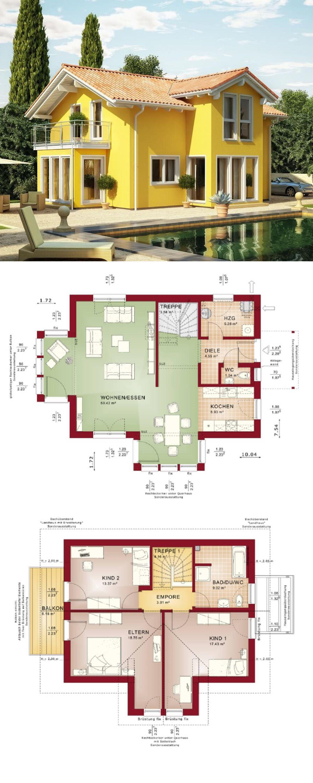 Einfamilienhaus Im Landhausstil   Architektur Mediterran Mit Satteldach U0026  Querhaus   Grundriss Haus Evolution 122 V4