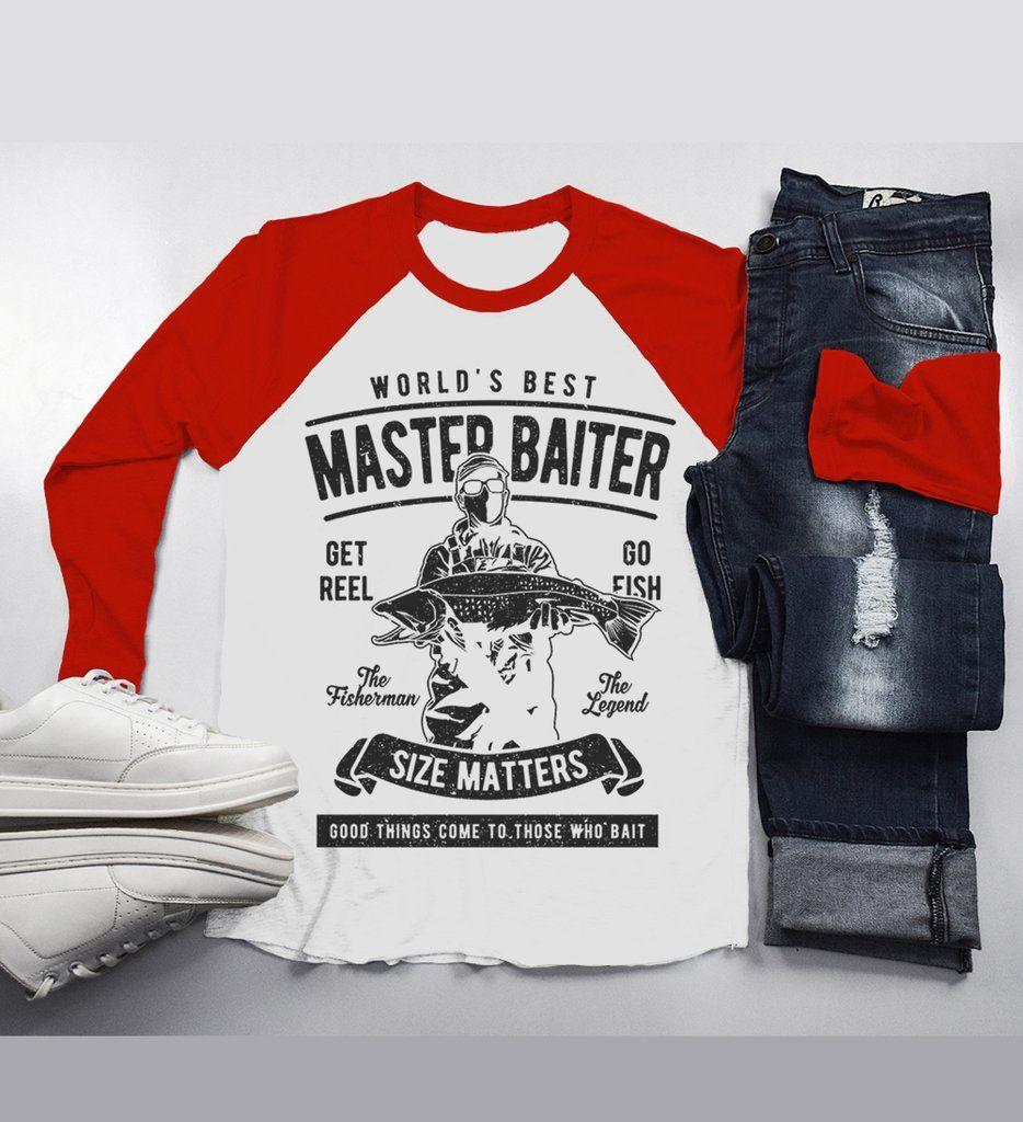 03e8fd1d Men's Funny Fishing T-Shirt World's Best Master Baiter Vintage 3/4 Sleeve  Raglan