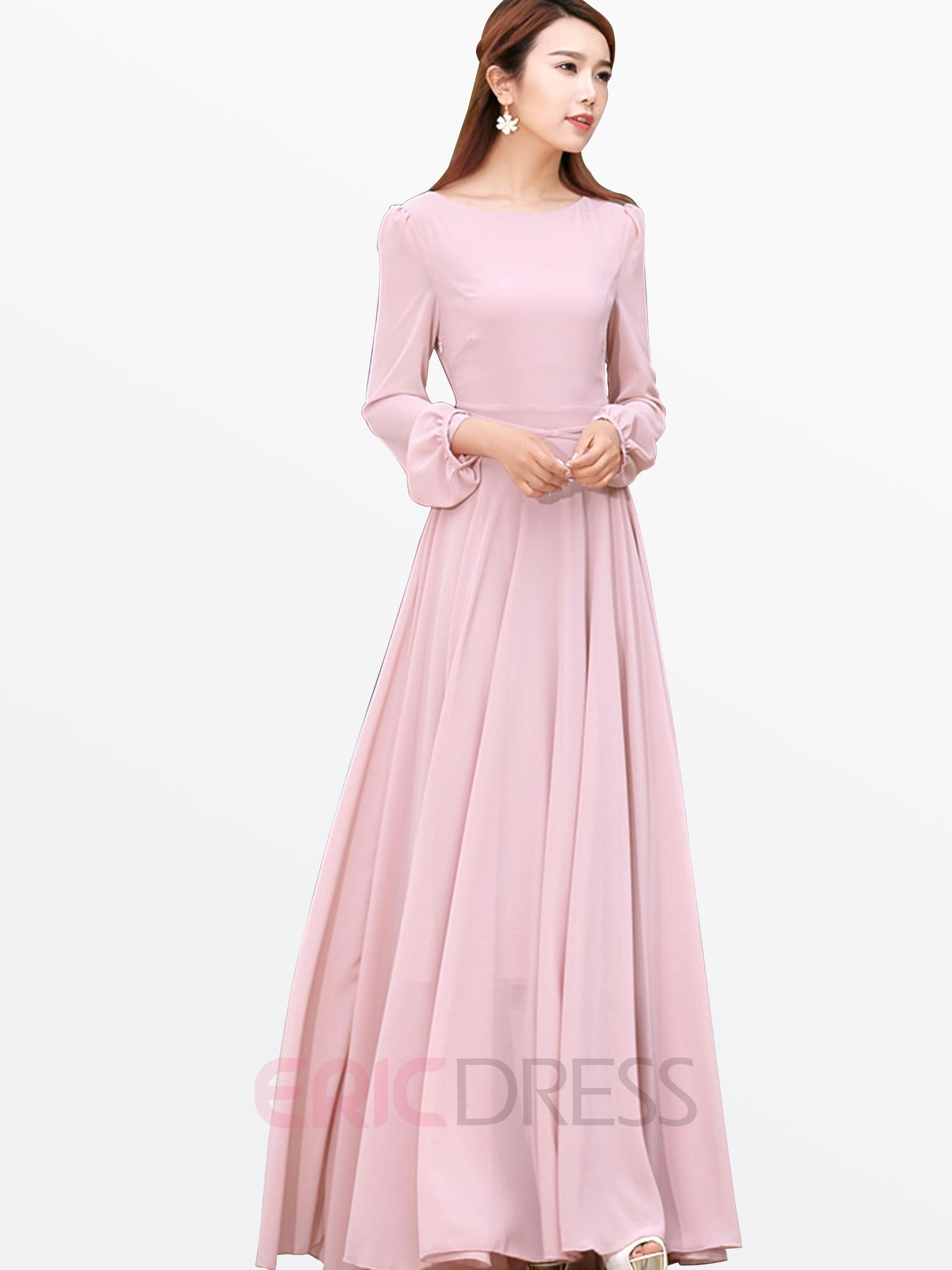 Ladylike solid color long sleeve maxi dress in trajes