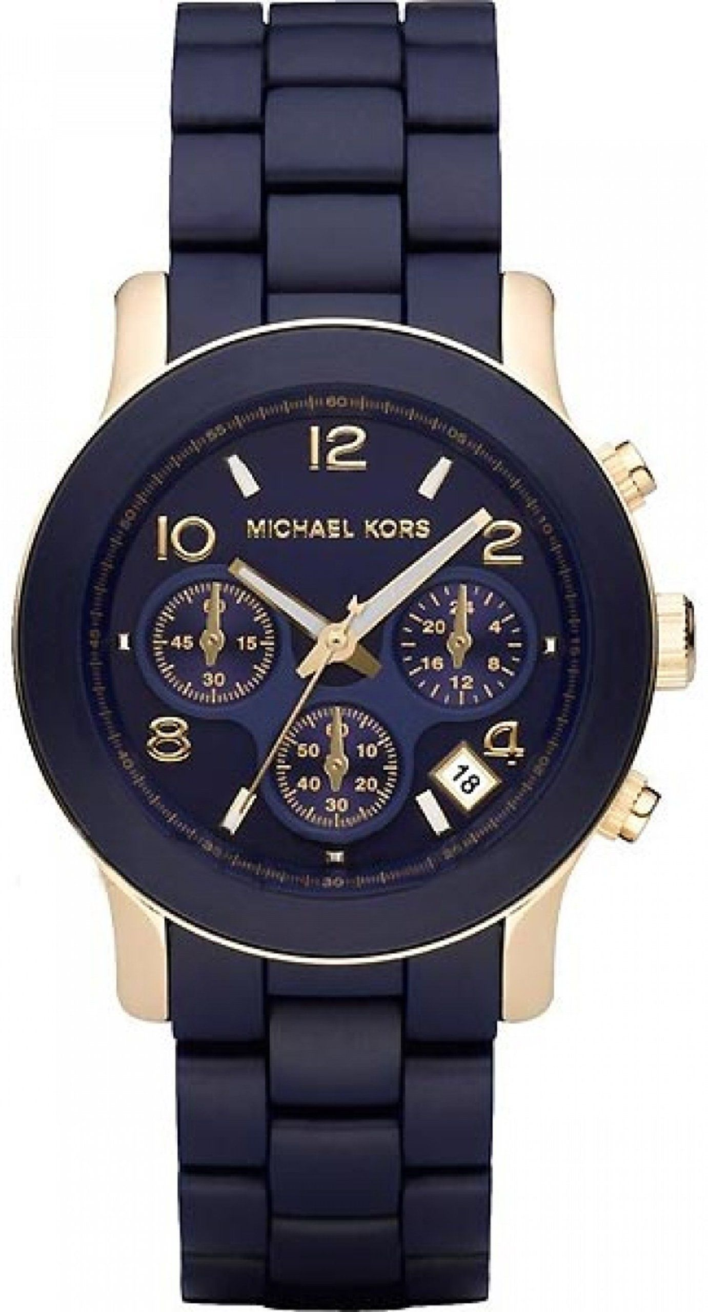 0a1bcfcff19c Michael Kors Women s MK5316 Navy Silicone Wrapped Runway Watch ...