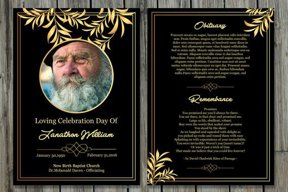 Funeral Program Template | 5x7 Funeral Card Template | Memorial ...