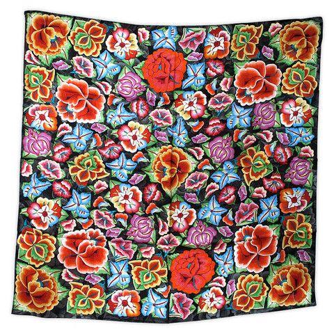 Pineda Covalin u201cTehuana Flowersu201d Multicolor Silk Scarf mascadas - innovative oberflachengestaltung pixelahnliche elemente