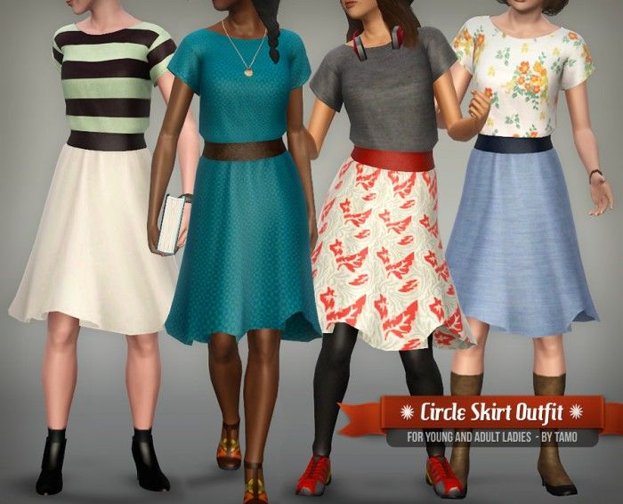 Circle Skirt Outfit by Tamo - Sims 3 Downloads CC Caboodle