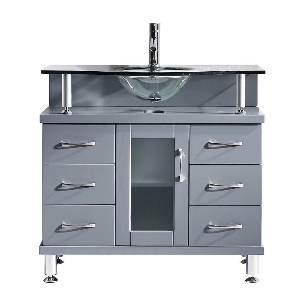 Virtu Usa Vincente 36 In W Bath Vanity In Gray With Glass Vanity