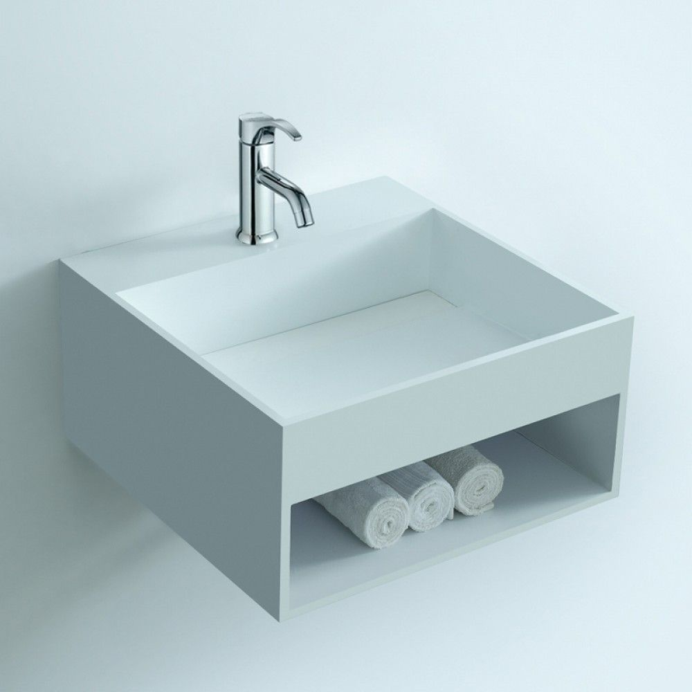 Soakology Ice 510mm S-Cast Solid Surface Wash Basin - In-built Shelf ...