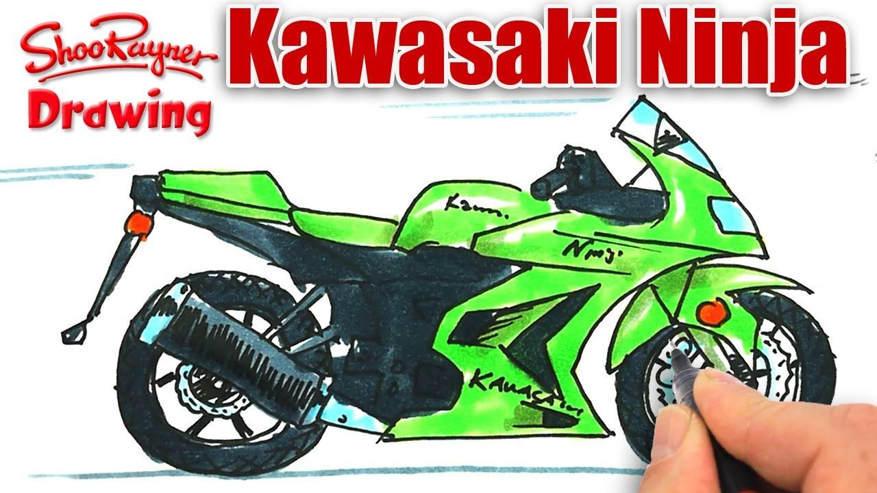 How To Draw A Kawasaki Ninja Motor Bike Bike Drawing Ninja Bike Kawasaki Ninja
