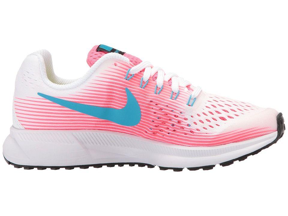 434c7125dd8b Nike Kids Zoom Pegasus 34 (Little Kid Big Kid) Girls Shoes White Chlorine  Blue Racer Pink Black