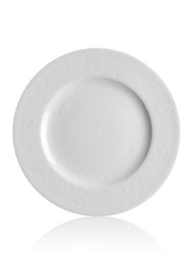 Caskata White Peony Lace White Rimmed Accent or Salad Plate - Initial M