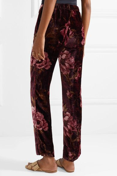 Crono Floral-print Velvet Pajama Pants - Burgundy F.R.S. For Restless Sleepers