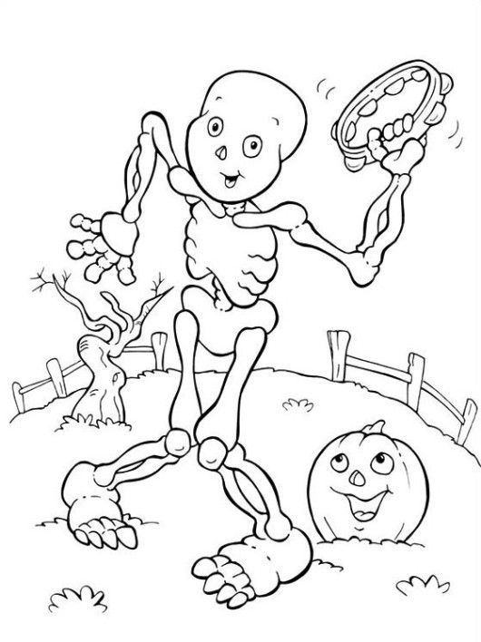 Mickey Skeleton Costume Happy Halloween Coloring Pages