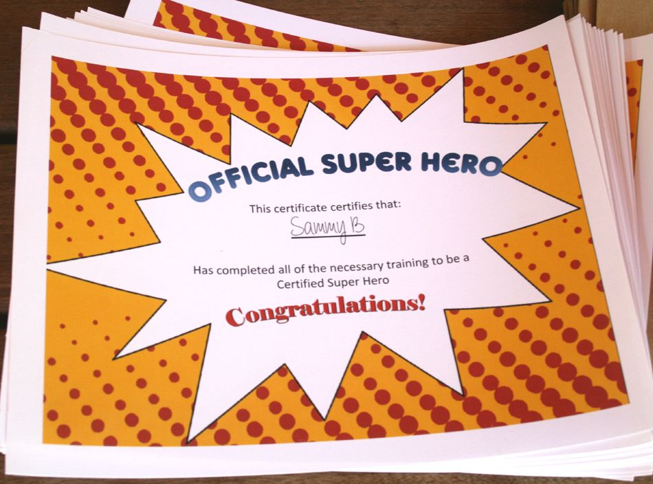 Super hero certificates we had captain america come and put the super hero certificates we had captain america come and put the kids through boot yadclub Choice Image