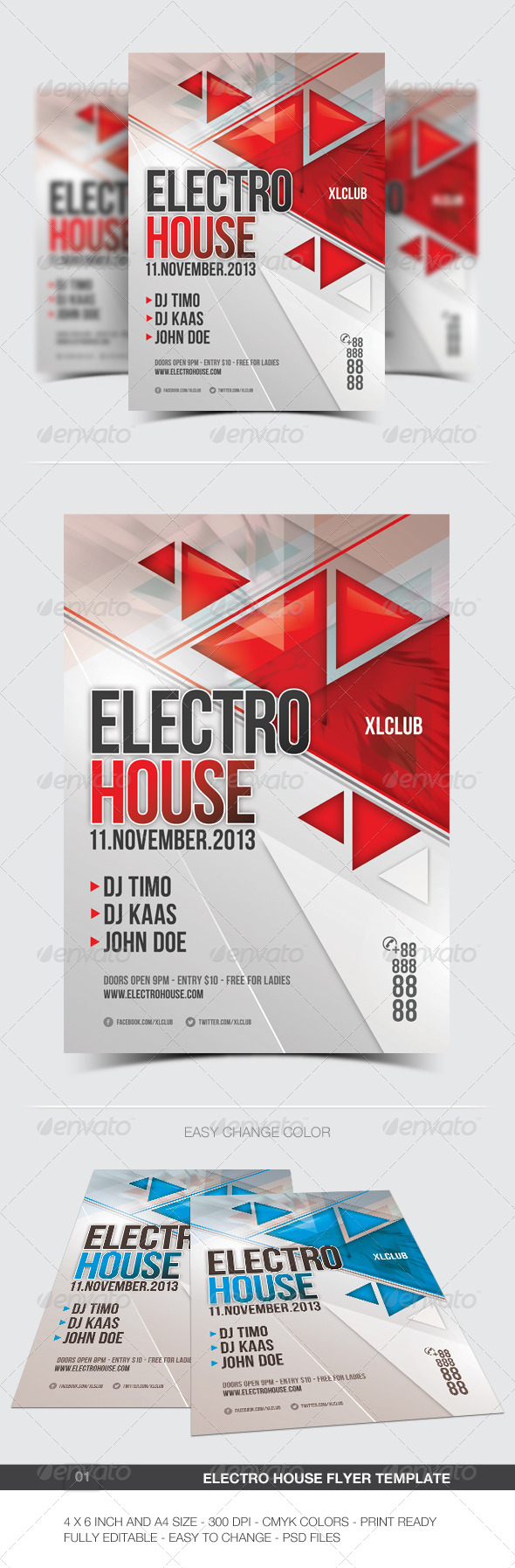 Electro Flyer/Poster - 01 | Electro music, Edit text and Dj electro