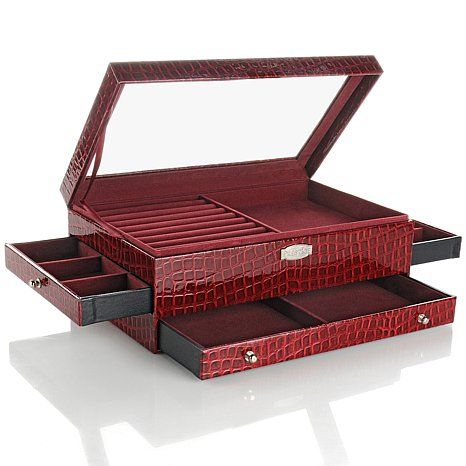 "Hsn Jewelry Boxes Glamorous Crocoembossed ""everything"" Jewelry Box  Emboss Box And Fashion Design Decoration"