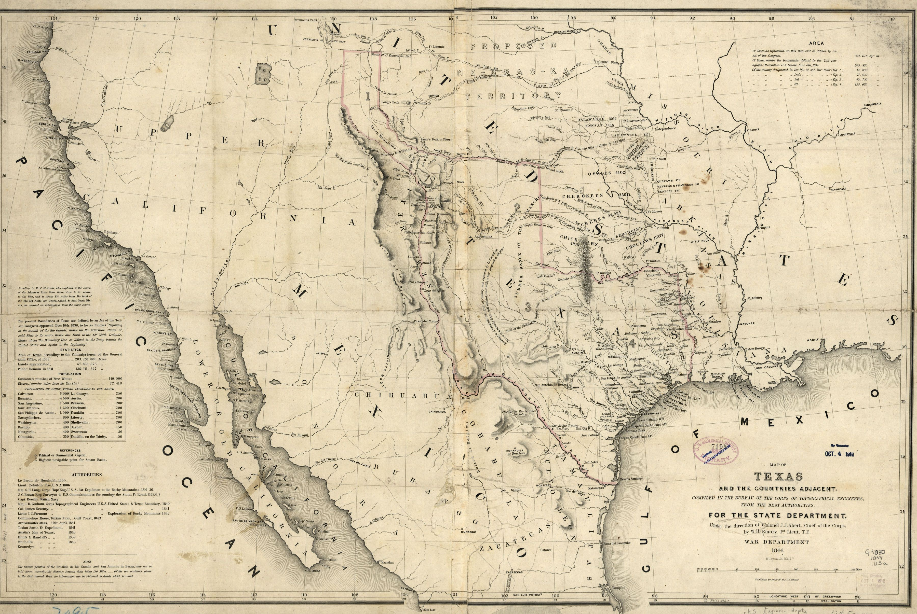 Map Of Texas Mexico.1844 Us War Department Map Of Texas And Surrounding Areas Historic