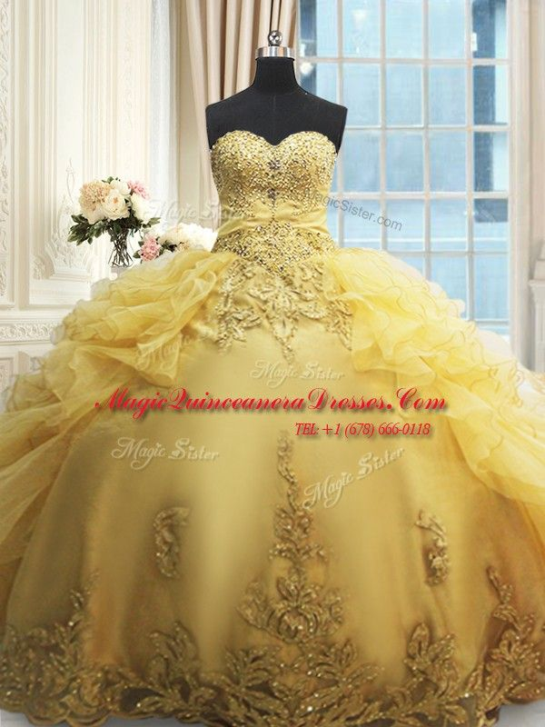 ea633d4156e Sweetheart Sleeveless Organza Sweet 16 Quinceanera Dress Beading and  Appliques and Ruffles Lace Up