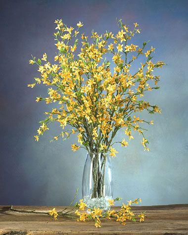 Forsythia Silk Flower Stem Yellow Flower Arrangements Simple Yellow Flower Arrangements Flower Arrangements Simple Vase