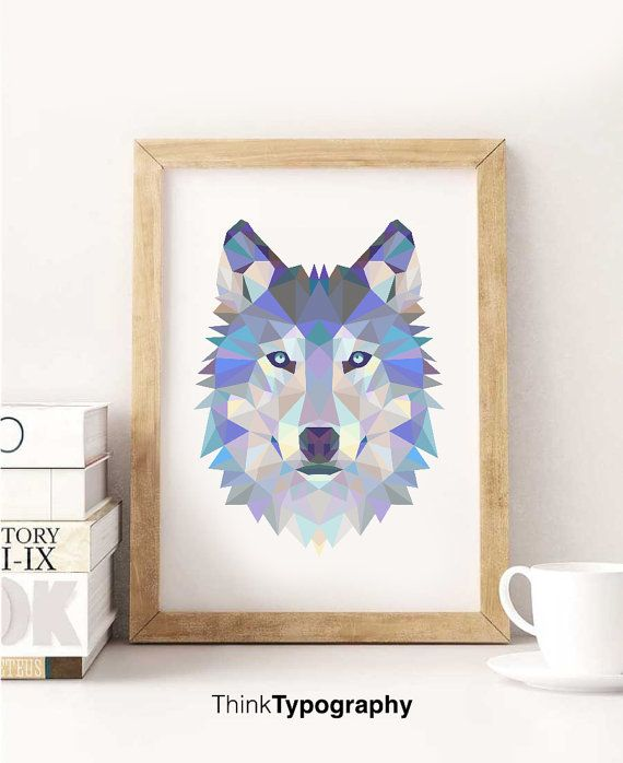 Cool printable polygon picture of a wolf.