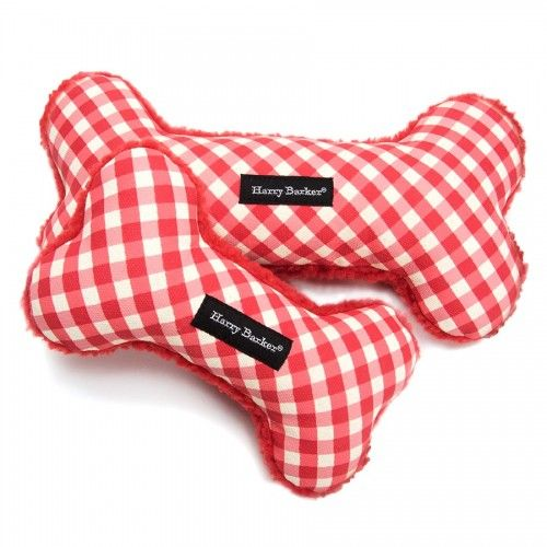 Harry Barker Gingham Bone Canvas Toy Durable Dog Toys Tough Dog
