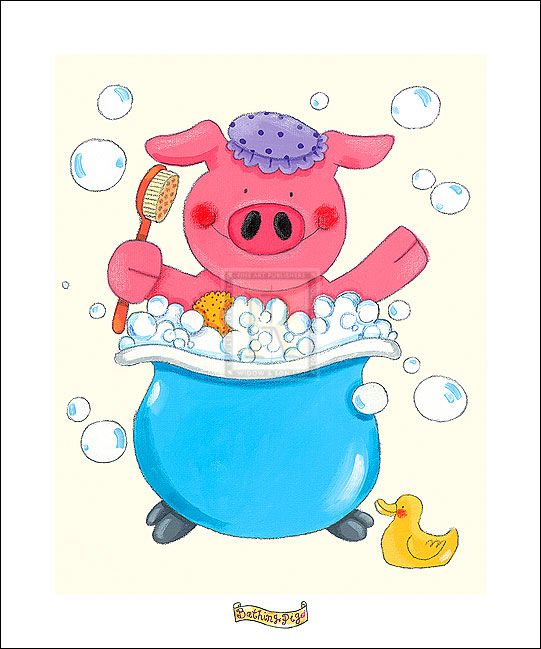 Sophie Harding Bathing Pig Detail Rosenstiel S Pig Illustration Pig Barnyard Buddies