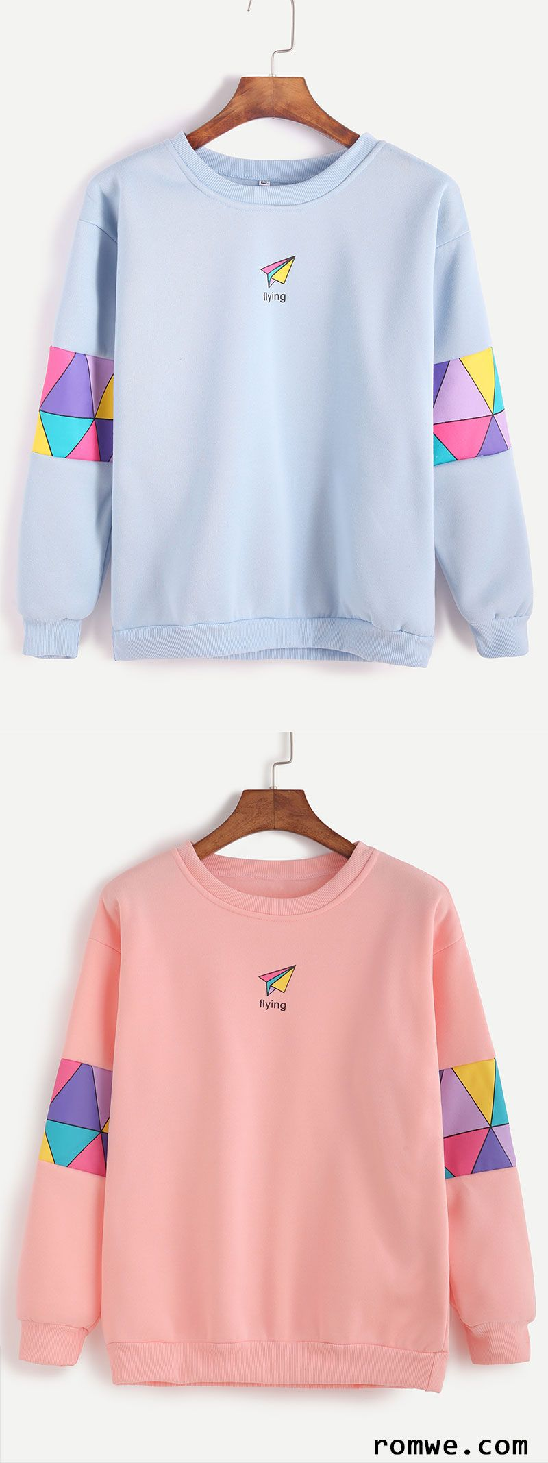 Pink & Blue Patchwork Print Sweatshirt from romwe.com | Romwe ...