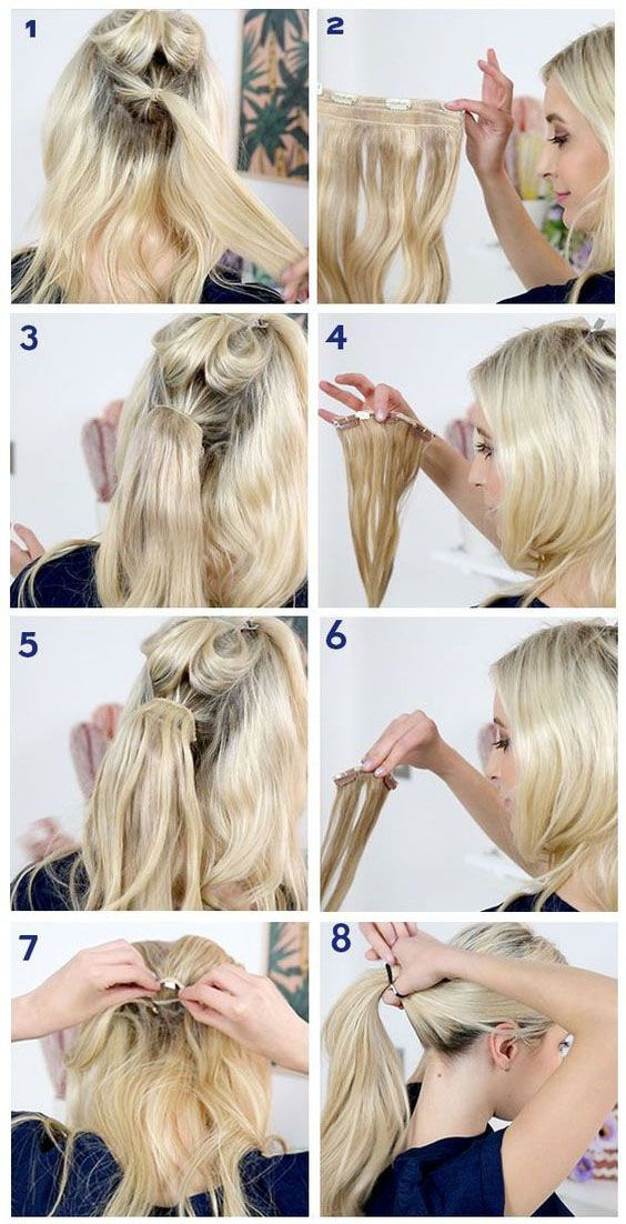 8 Steps To Make A Ponytail With Clip In Hair Extensions Hair Extensions Best Hair Extensions Tutorial Clip In Hair Extensions