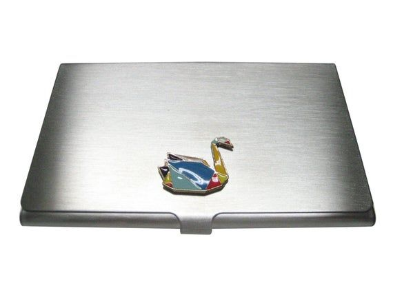 Photo of Colorful Origami Swan Bird Business Card Holder