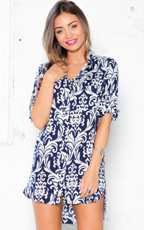 Down To Earth Shirt in Navy Paisley   SHOWPO Fashion Online Shopping