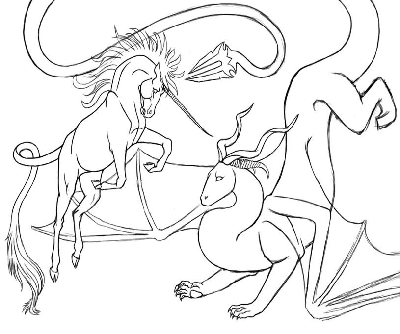 The Unicorn And Dragon Coloring Pages Dragon Coloring Page Coloring Pages Unicorn Coloring Pages