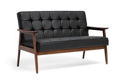 Baxton Studio Stratham Black Mid-Century Modern Sofa | Sofas | modern sofa | mid century modern sofa | modern sectional sofa | sofa | sofa ideas Price:$456.00