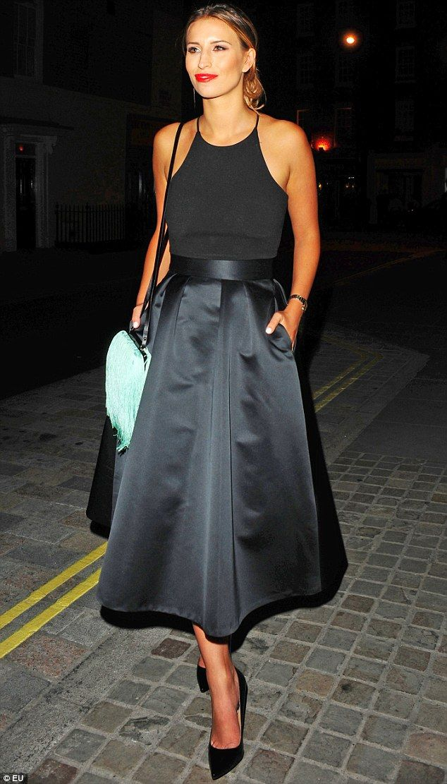Turning heads: The TOWIE beauty looked elegant in a black, prom ...