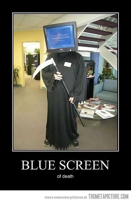 The dreaded Blue Screen of Death Costume