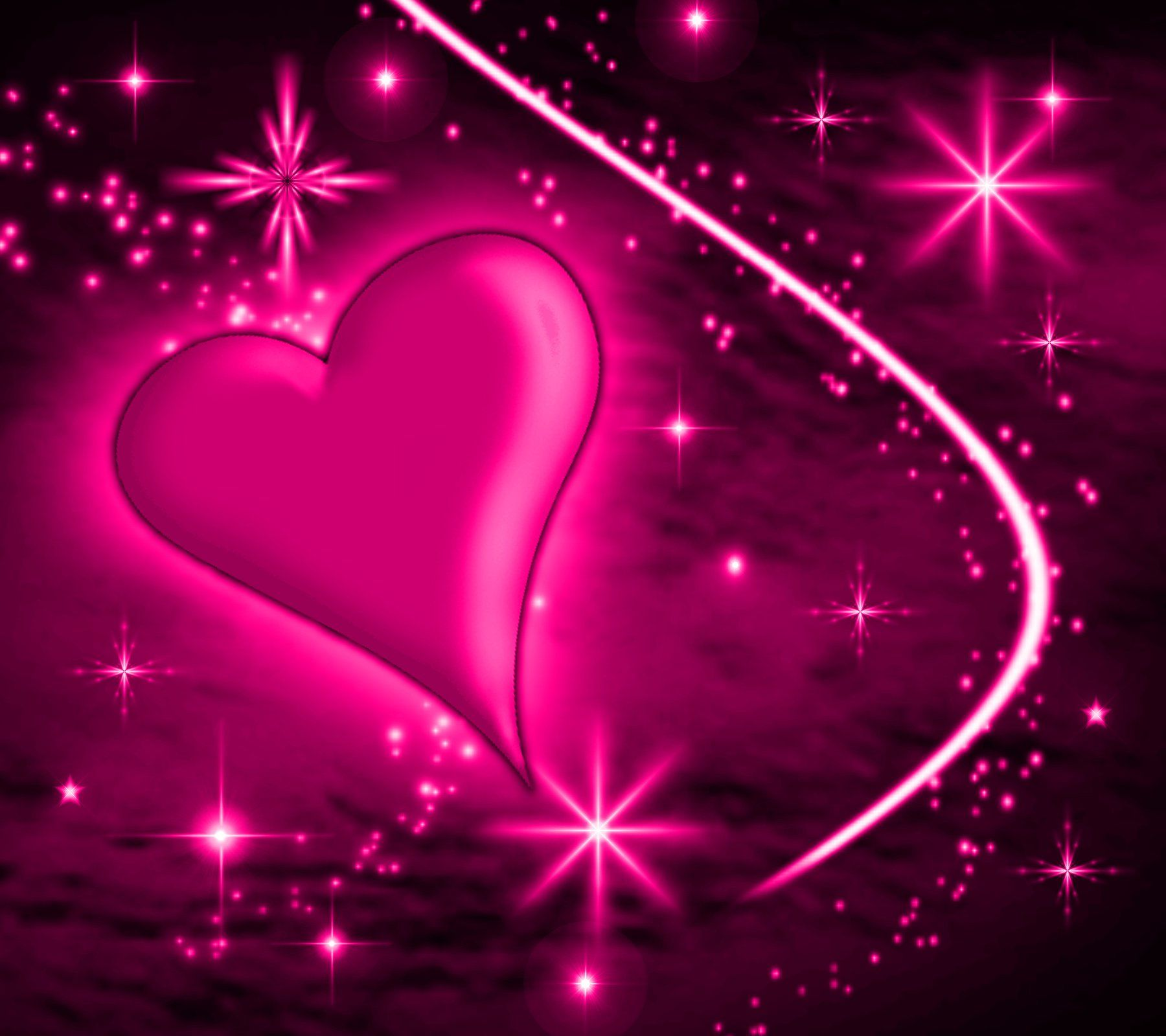 Free Pink Heart With Plasma Stars Background 1800x1600
