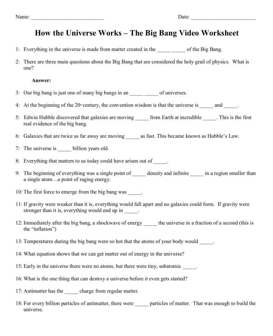 hight resolution of 16+ The Big Picture Science Worksheet   How the universe works