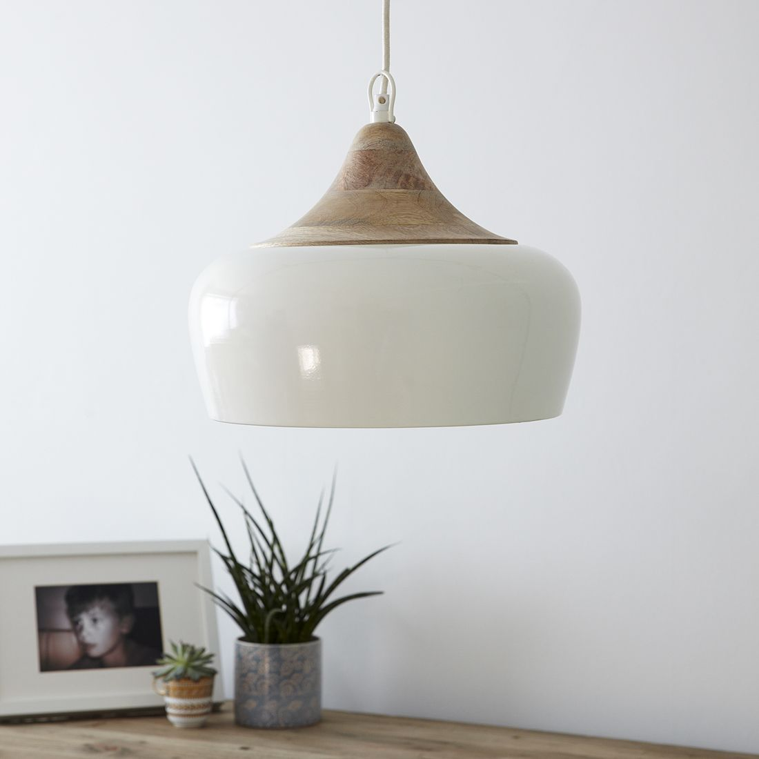 Cream Metal Pendant Light With Wooden Top And Black And White Cord Ceiling Lights Metal Pendant Light Pendant Light