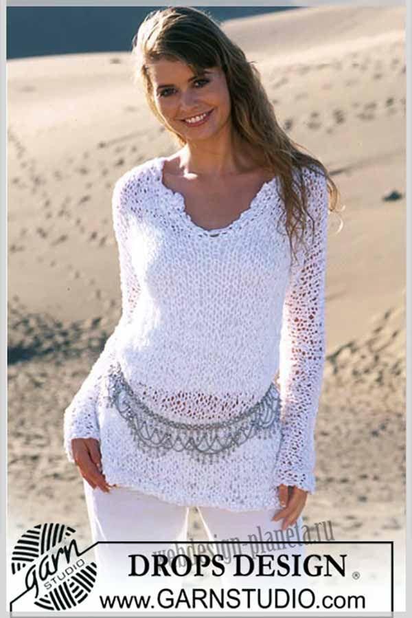 Белоснежный женский джемпер спицами | háčkované oblečení | Pinterest ...