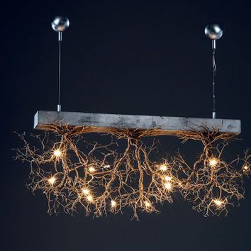 3 Rooted Handmade Ceilling Light Made Of Pewter Wires