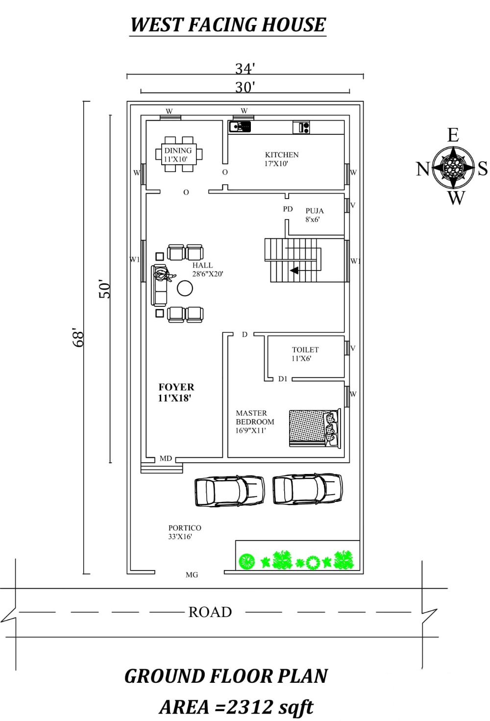 30 X50 Single Bhk West Facing House Plan As Per Vastu Shastra Autocad Dwg And Pdf File Details West Facing House House Plans How To Plan